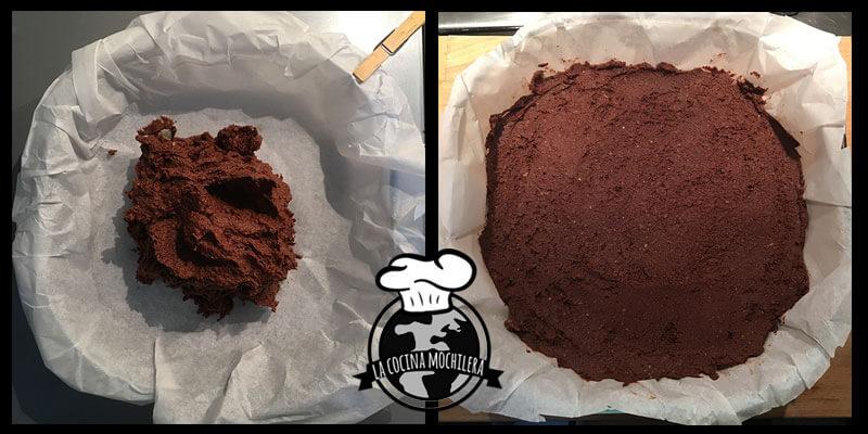 brownie vegano en molde