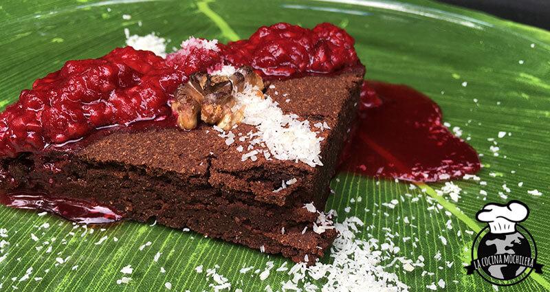 brownie con mermelada de frambuesa