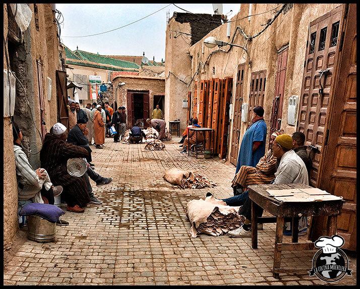 mercado de pieles en Marrakech