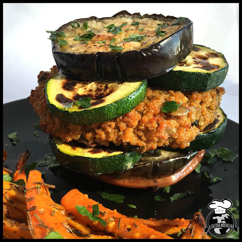 hamburguesa vegetal de quinoa y champis
